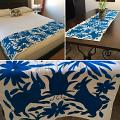 Otomi Bed Runner Dark Cerulean Blue