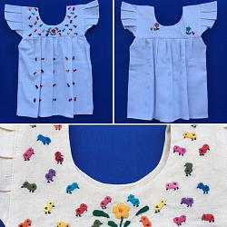 "Hand Embroidered Girl Dress ""Pollitos"""