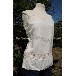 Handmade Mexican Blouse with crochet trim
