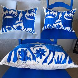 Hand embroidered Mexican Pillow Blue