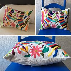 Hand embroidered Mexican Pillow Multi color