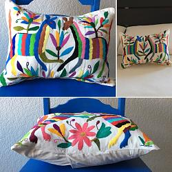 Hand embroidered Mexican Pillow Multi color I