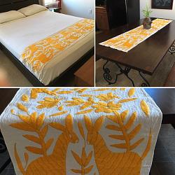 Hand embroidered Mexican Bed Runner